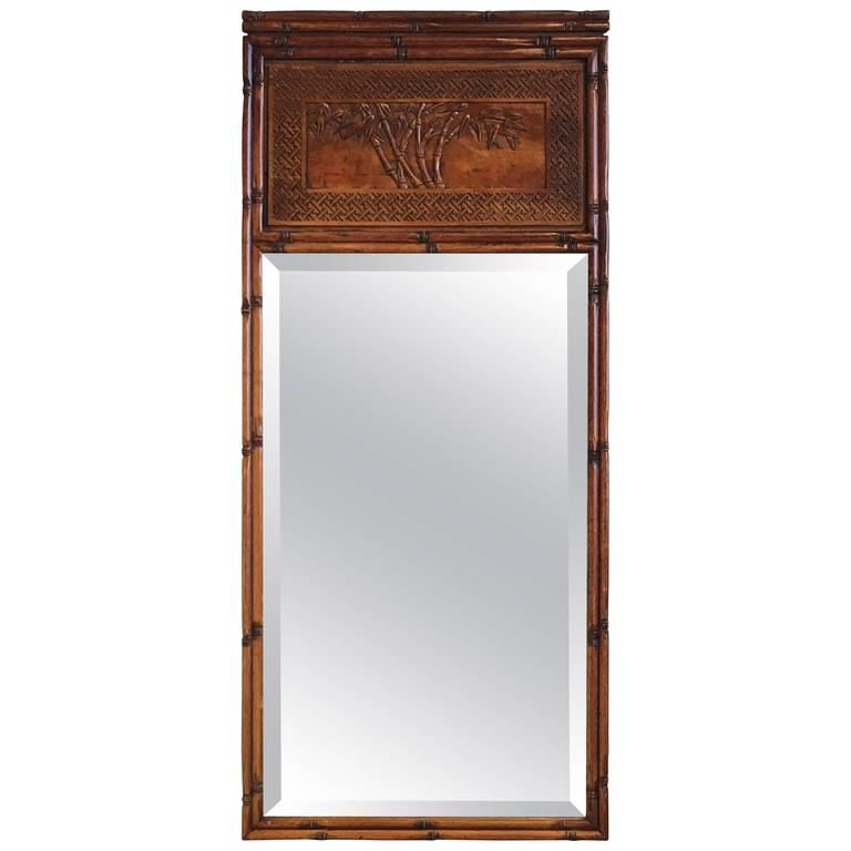 1950s Faux Bamboo Mirror with Decorative Bamboo Motif