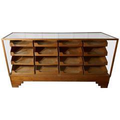 English Art Deco Haberdashery Glass Shop Counter, 16 Drawers, Shop Display