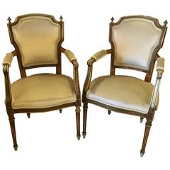 Maison Jansen Stamped Pair of Distressed Louis XVI Style Armchairs
