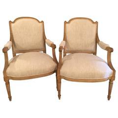 Pair of Maison Jansen Louis XVI Style Fauteuil or Armchairs