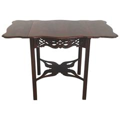 1960s Baker Chinese Chippendale Charleston Collection Mahogany Drop-Leaf Table