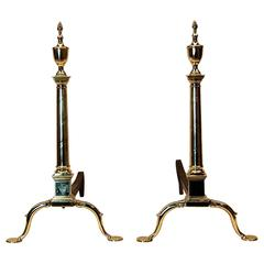 Pair of 19th Century Brass Andirons with Finely Etched Crest and Scroll Work