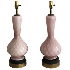 1960s Italian Pink Murano Glass and Brass Lamps, Pair