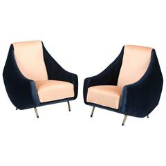 Pair of Italian Velvet Armchairs by Gigi Radice for Lenzi