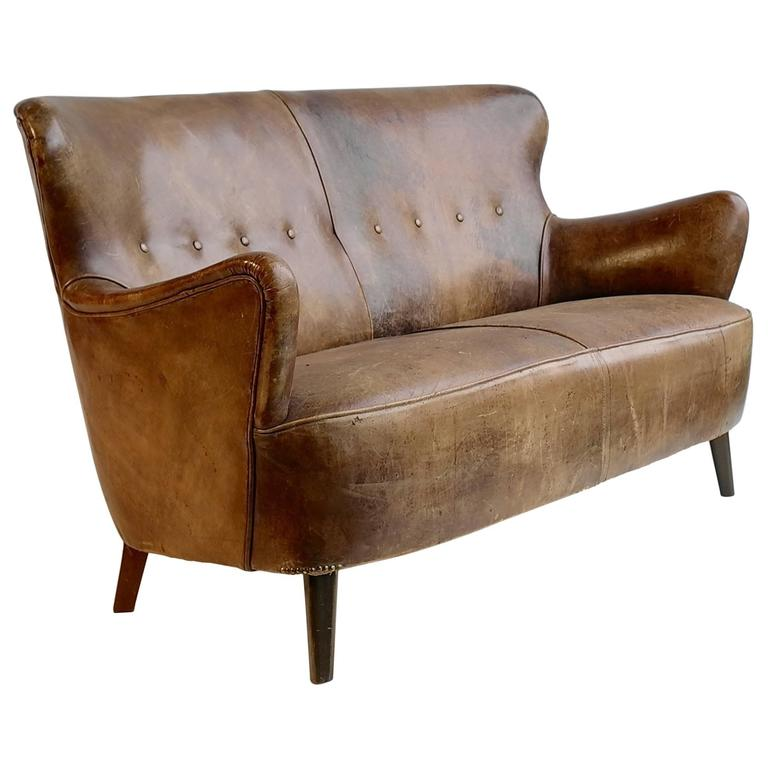 Cognac Leather Sofa With A Rich Patina, By Theo Ruth For Artifort 1