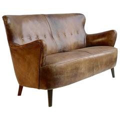 Cognac Leather Sofa with a Rich Patina, by Theo Ruth for Artifort