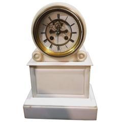 Federal Style Carrera Marble Mantel Clock, 19th Century