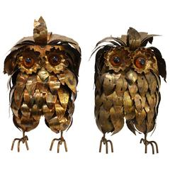 Fantastic Pair of Owl by Curtis Jere, circa 1960