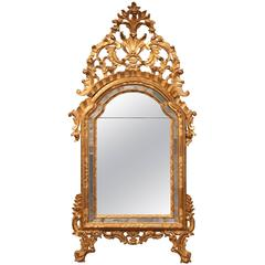 18th Century Italian Carved Giltwood Mirror with Original Mercury Glass
