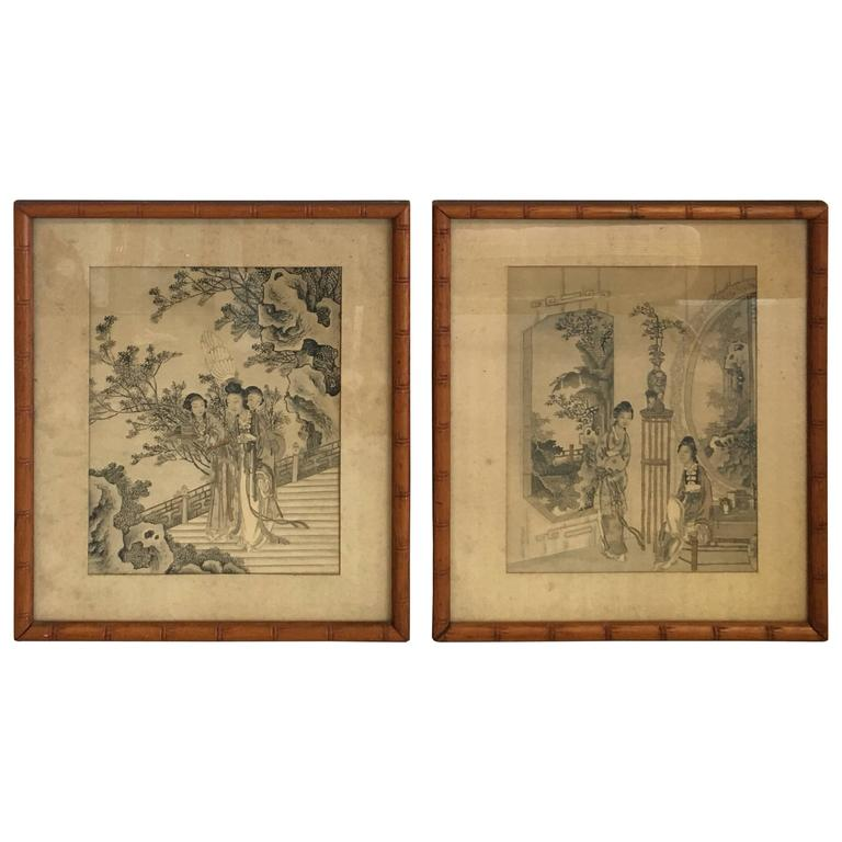 1930s Asian Women in Ornate Scenery Prints with Faux Bamboo Frames ...