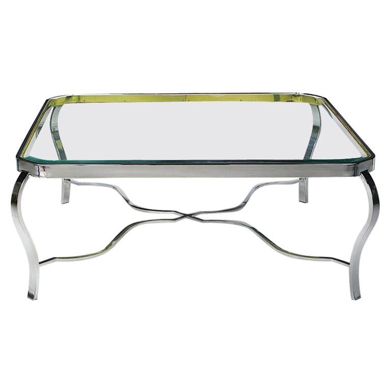 DIA Chrome and Brass Coffee Table For Sale