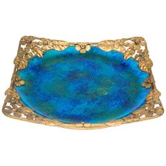 Platter with Gilt Metal Surround by Paul Millet for Sevres