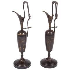 Pair of Patinated Bronze Ewers by Tiffany & Co
