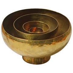 Robert Essen Handmade Hammered Brass Bowl, Sweden, 1970s
