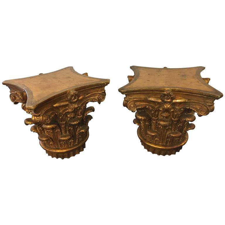 Pair of 19th-20th Century Giltwood Corinthian Column Capitals or Pedestals