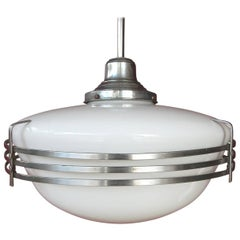 Architectural Art Deco Milk Glass Globe Pendant Lamp