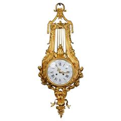 Stunning Ormolu Louis XVI Style Lyre Cartel Wall Clock by Vincenti