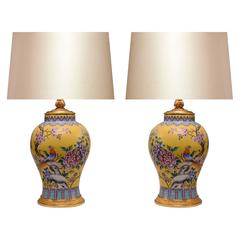 Pair of Yellow Ground Famille Rose Porcelain Lamps