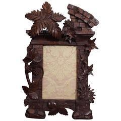 19th Century Black Forest Carved Wood Frame