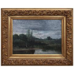 19th Century French Barbizon School Oil on Canvas in Period Frame