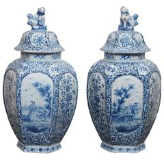 Pair of 19th Century Delft Lidded Jars