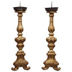 Italian Giltwood Louis XV Style Altar Candlesticks