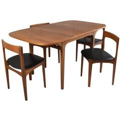1970s Mid-Century Dining Set, Nathan Furniture, Extendable Table and four Vinyl