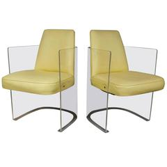 Pair of Lemon Plexiglass and Vinyl Mid-Century Modern Chairs by Vladimir Kagan