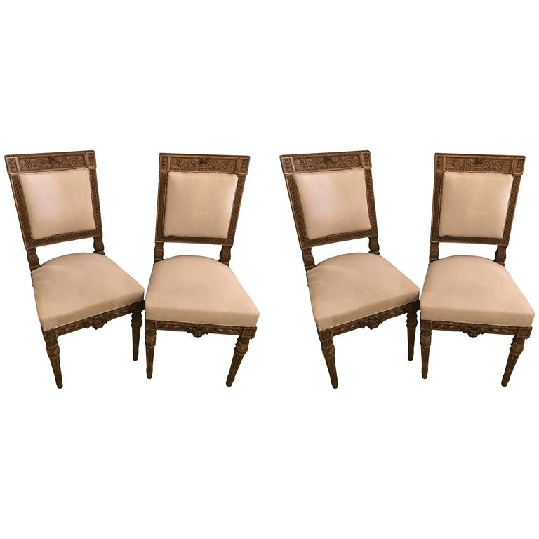 Set of Four Stamped Jansen Neoclassical Dining or Side Chairs