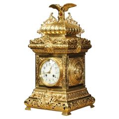 Antique Table Clock, French Gilt Bronze by Samuel Marti with Eagle