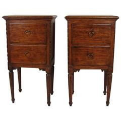 Pair of Italian Walnut Neoclassical Bedside Tables