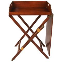 Rare English Mahogany Butler's Tray with Companion Serving Table