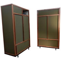 Mid-Century Modern Andre Sornay Pair of Wardrobe