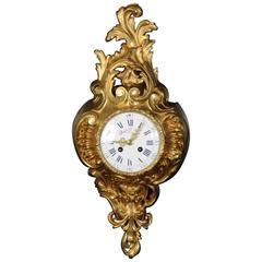Samuel Marti Gilt Bronze Cartel Wall Clock