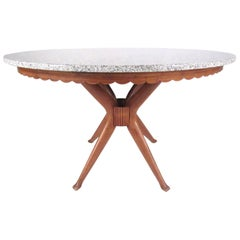 Mid-Century Modern Marble Top Dassi Style Dining Table
