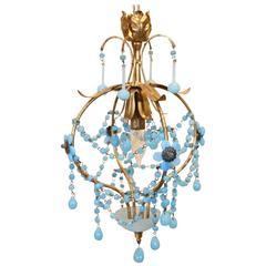 Petite Italian Gilt and Turquoise Glass Pendant