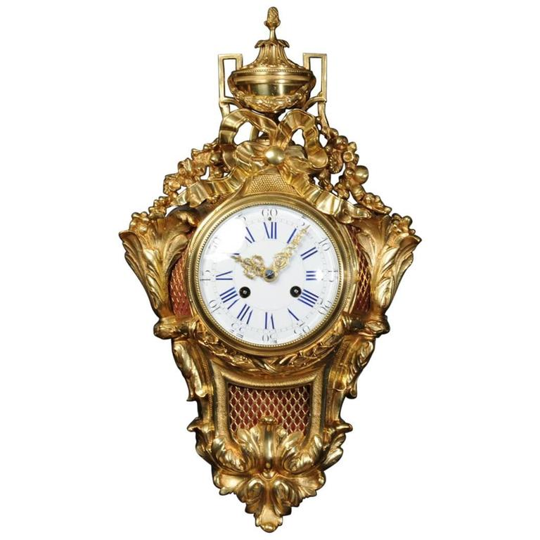 Antique French Gilt Bronze Wall Clock For