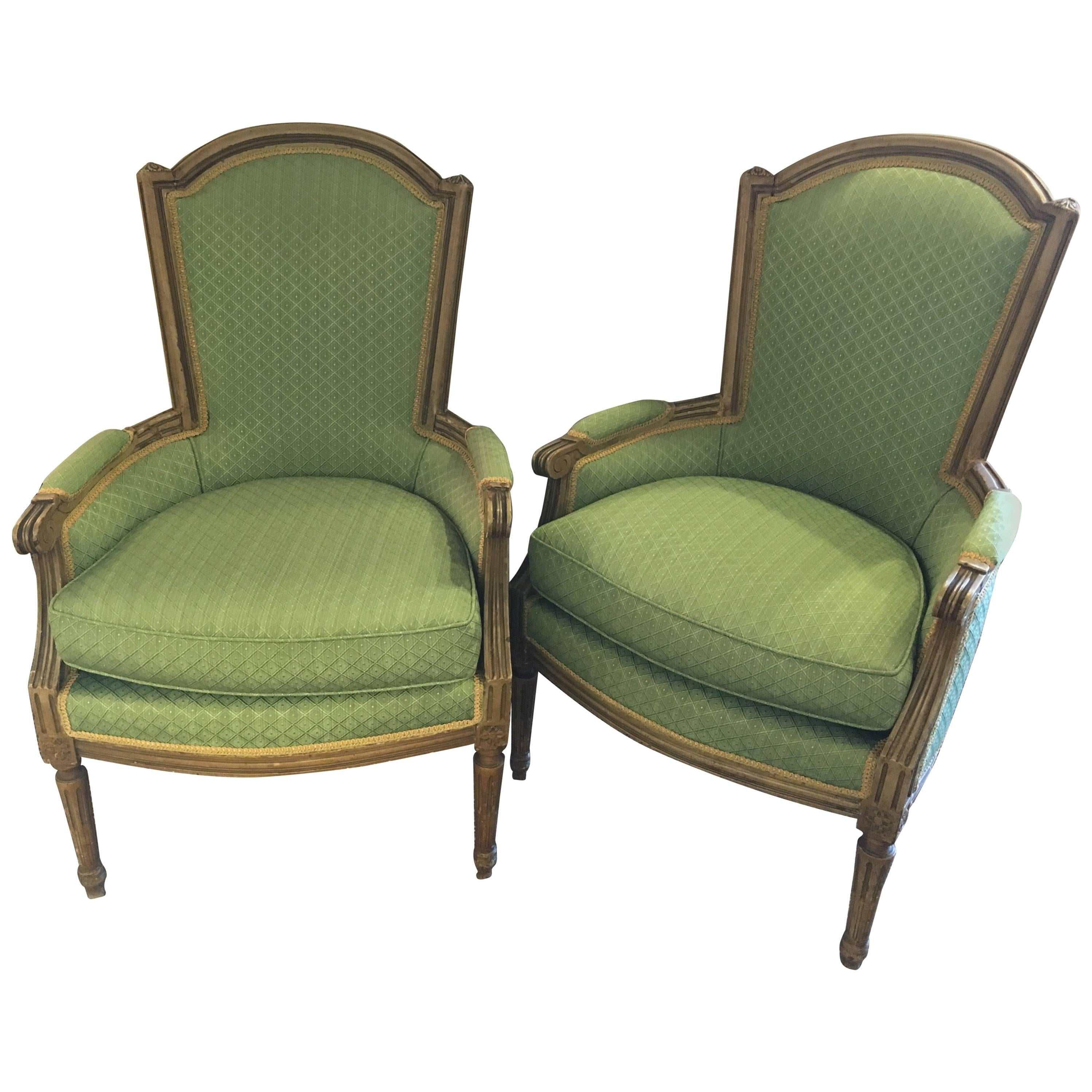 Pair of Jansen Stamped Louis XVI Style Arm or Bergere Chairs