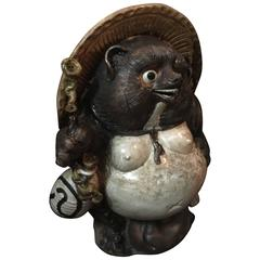 Old Japanese Folk Hero Tanuki Large Handmade Hand Glazed Big Belly for Garden