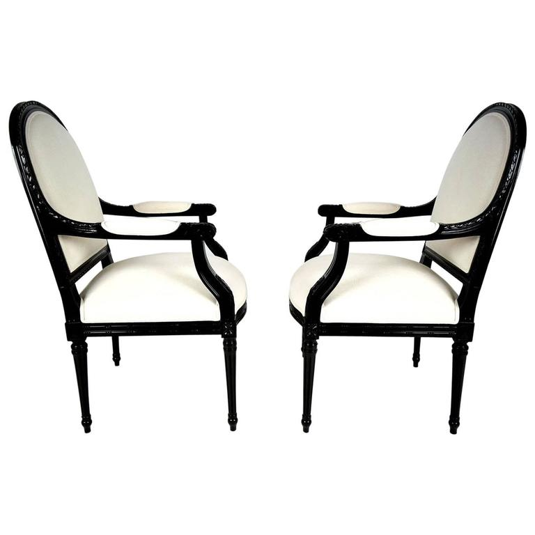 Pair of French Louis XVI-Style Armchairs, Circa 1950