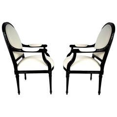 Pair of French Louis XVI-Style Armchairs, Circa 1950