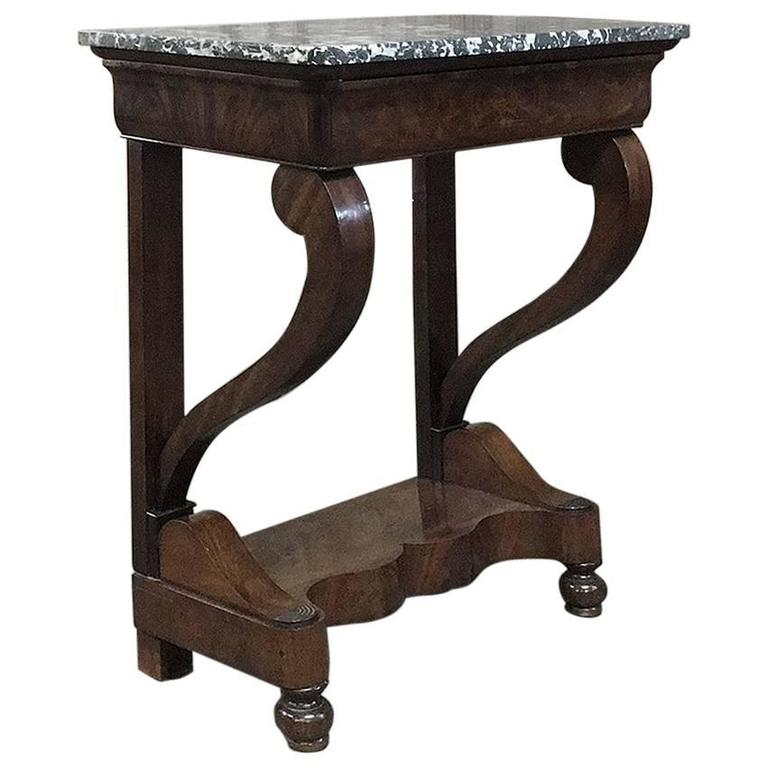 19th Century French Louis Philippe Mahogany Marble-Top Console