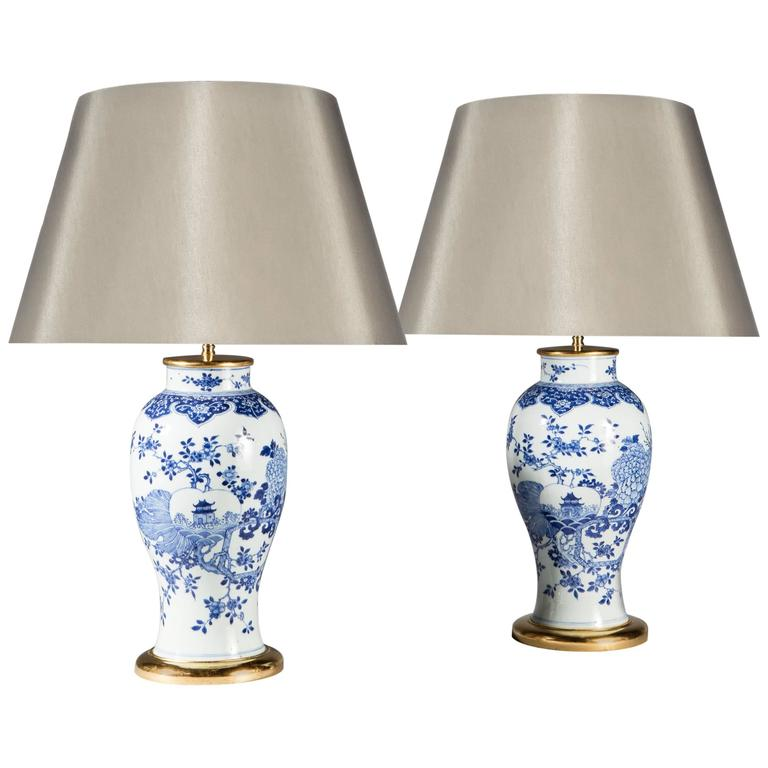 Pair of Chinese Blue and White Vases as Lamps