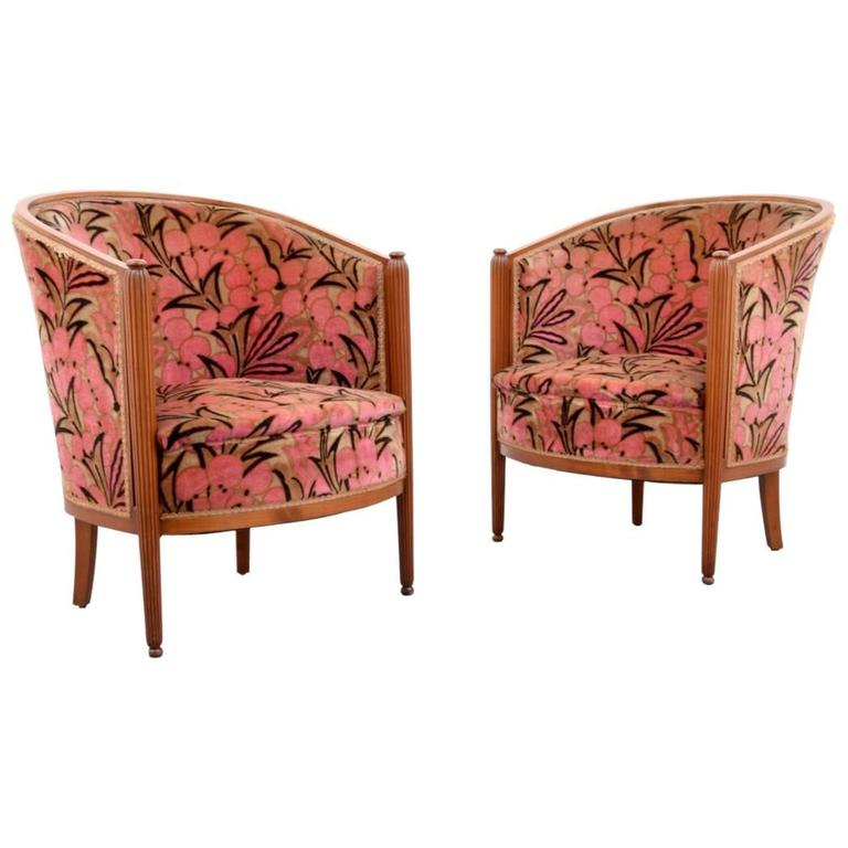 Pair of Art Deco Club Chairs, Barbra Streisand Collection