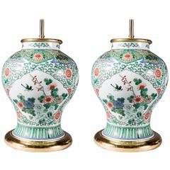 Pair of Famille Verte Baluster Vases as Lamps