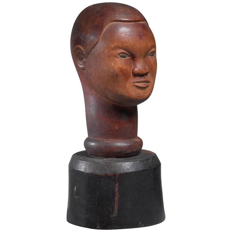 Wooden Bust Sculpture, USA, 1946