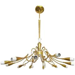 Italian Twelve-Arm Curved Brass and Enameled Metal Chandelier