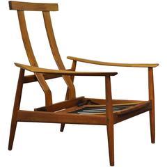 Vintage Arne Vodder FD-164 Teak Mid-Century Danish Modern Reclining Lounge Chair