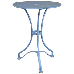 Blue French Bistro Table circa 1960 with Gueridon Style Legs