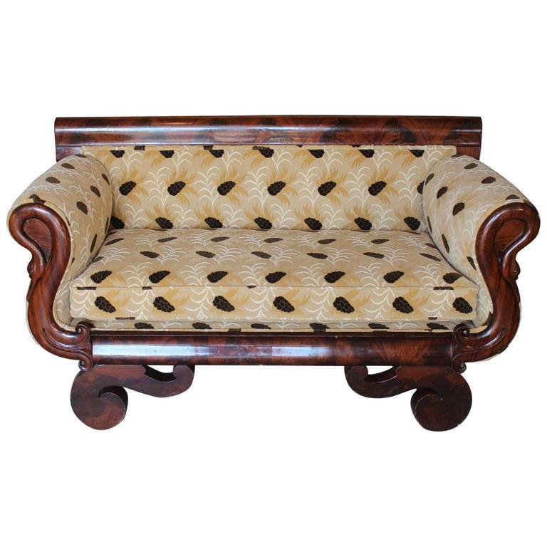 Flame Mahogany American Empire Small Sofa At 1stdibs